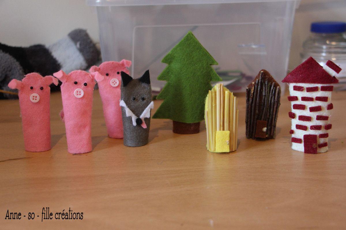 des marionnettes à doigts u2013 les trois petits cochons