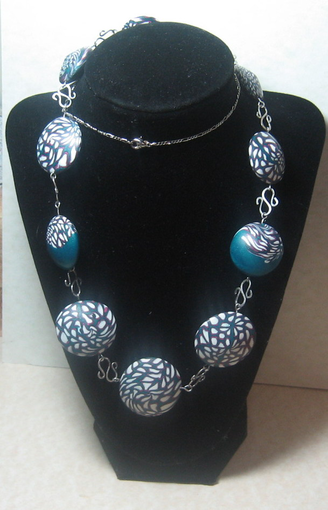 Polymer Clay Lentil Bead Silver Necklace Http Www Outbid Com