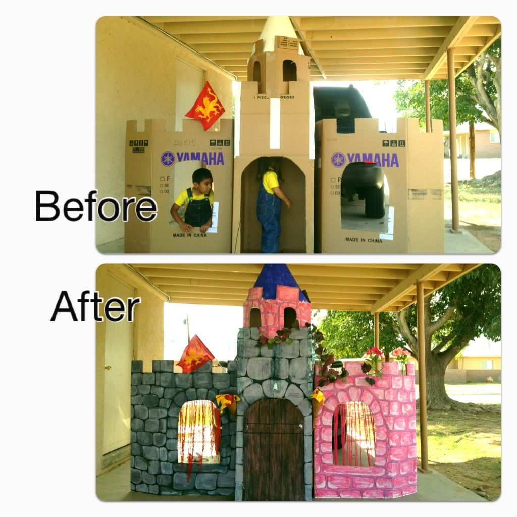 Castle Made Out Of Cardboard Boxes I M Gonna Have Prepping For Adris Party Cardboard Castle Knight Birthday Party Princess Theme Party