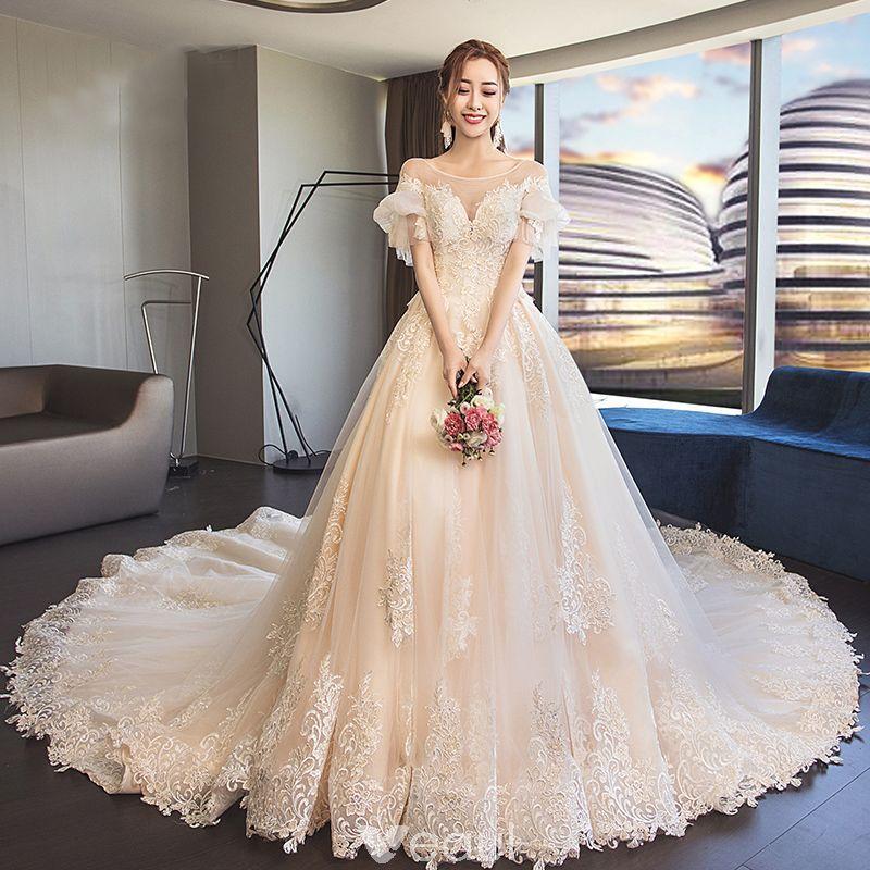 Classy Champagne See Through Wedding Dresses 2019 A Line Princess Scoop Neck Puffy Short Sl Princess Wedding Dresses Ball Gowns Wedding Wedding Dress Fabrics