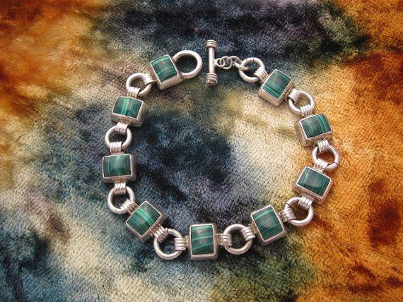 Vintage Sterling Silver Malachite Bracelet by worldwideoddities, $54.00