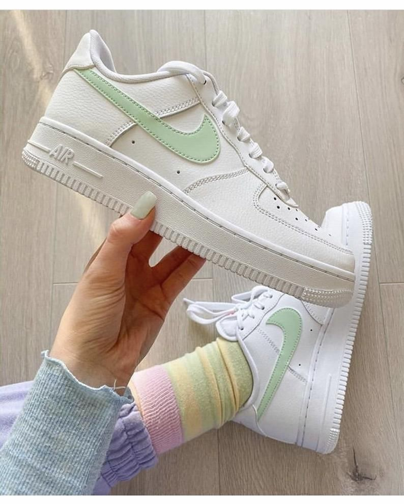 Nike Air Force 1 Low Colored Customized. Pink / Green / Yellow ...
