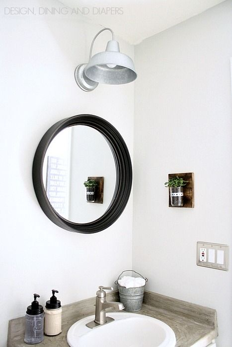 Mirror · Modern Farmhouse Half Bath Makeover!
