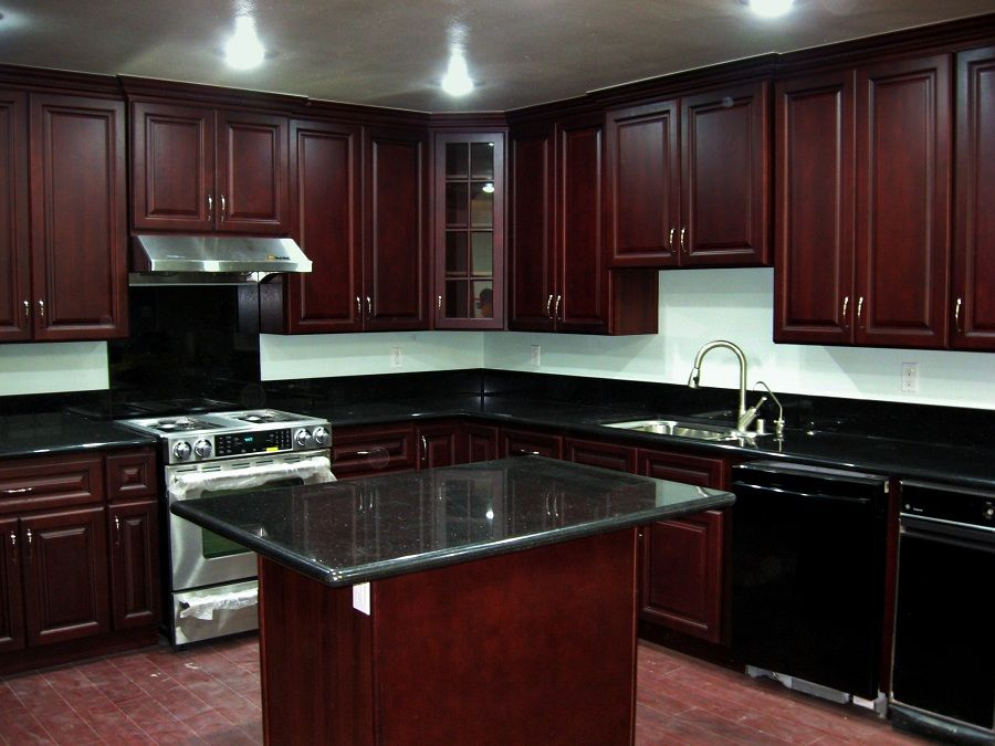 Cherry kitchen cabinets beech wood dark cherry color for Cherry and white kitchen cabinets
