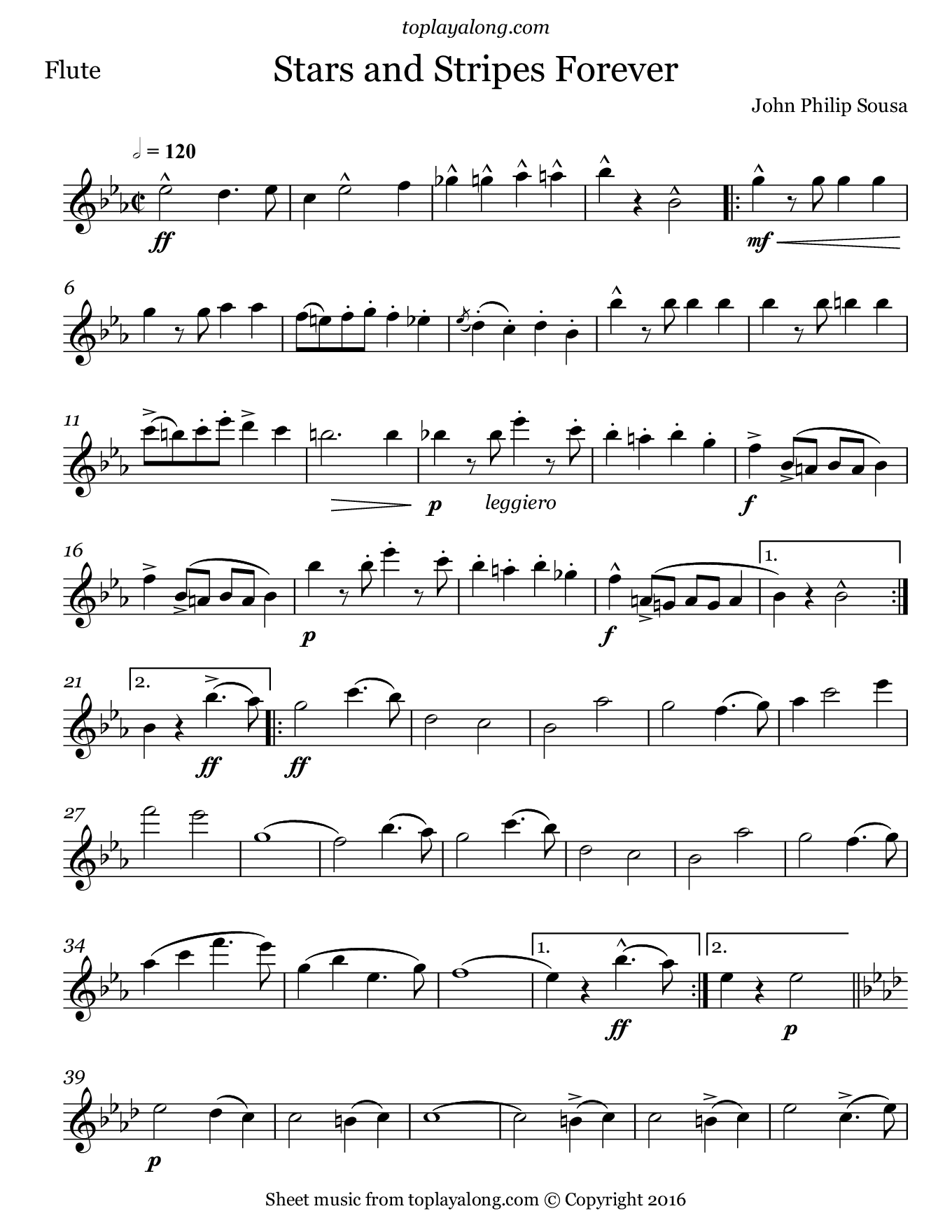 Stars And Stripes Forever By Sousa Free Sheet Music For