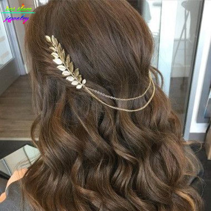 Vintage Boho Leaves Head Crown Gold/Silver Plated Chain And Leaves Hair Comb Wedding Hair Accessories Bijoux