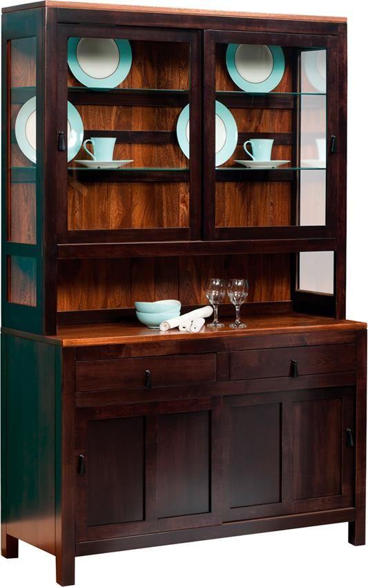 Amish Lillie Contemporary Hutch Door FurnitureDining Room