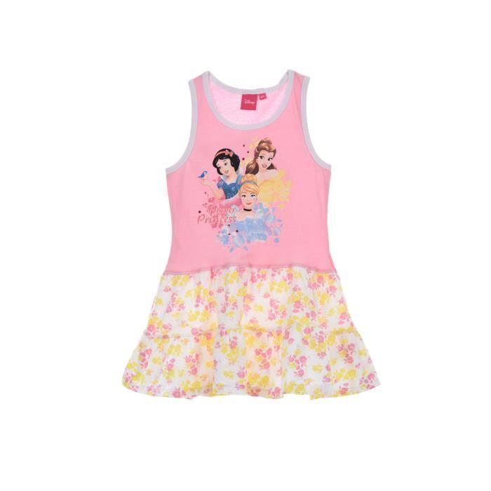 PRINCESSE Robe Sans Manche avec Jupe à Volants Rose Sérigraphié Enfant Fille