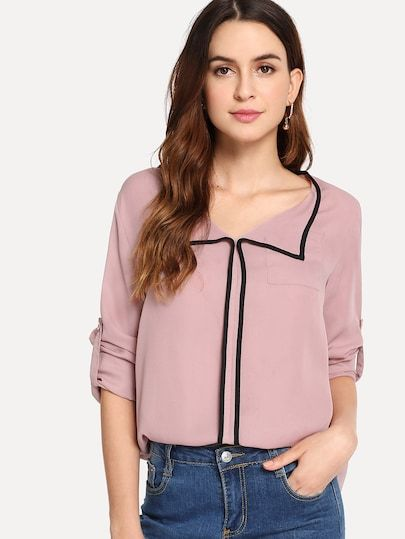 75c9ae5659bd SHEIN Contrast Binding Roll Tab Sleeve Top #shein #sheinside #dresses  #fashion #cocktail_dresses, #partydresses, dresses,cocktail dresses, party  dresses, ...