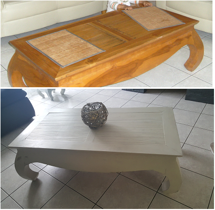 Table Basse Style Coloniale Repeinte Avant Apres Repeindre Table Basse Meuble Table Basse Table Basse