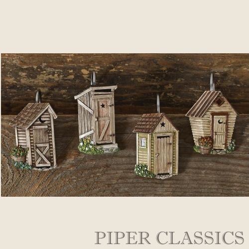 Outhouse Shower Curtain Hooks   S/12: Piper Classics  Outhouse Shower Curtain