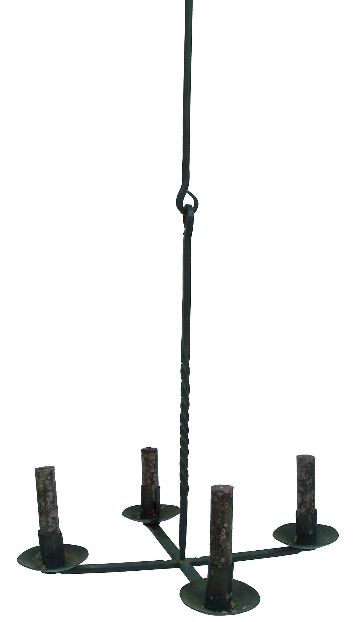 Hand made Wrought Iron Primitive Folk Art Candle Chandelier four
