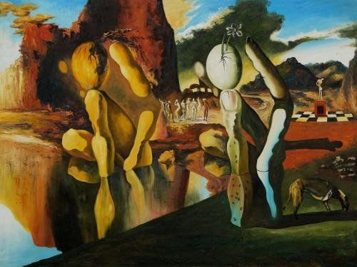 """Art Reproduction Oil Painting - Landscapes: Metamorphosis of Narcissus - Extra Large 30"""" X 40"""" - Hand Painted Canvas Art"""