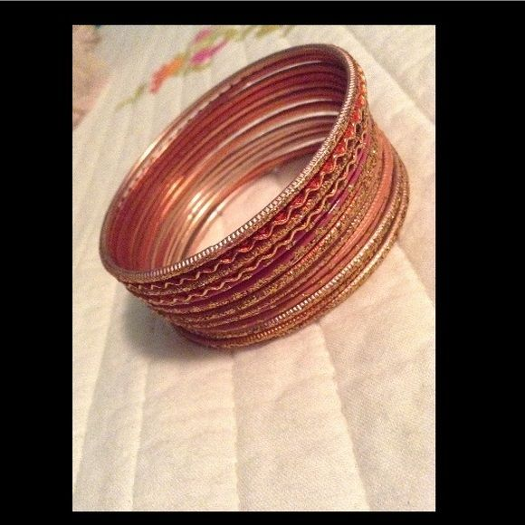Bangle Set Rose gold bangles, adorable!!! In great condition! Jewelry Bracelets