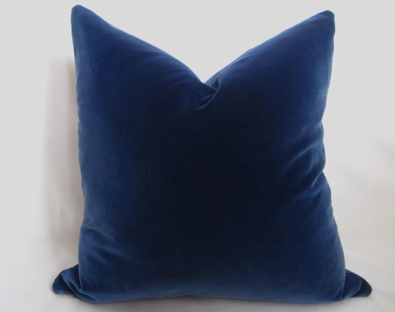 Belgium Blue Velvet Pillow Cover Blue More Sizes