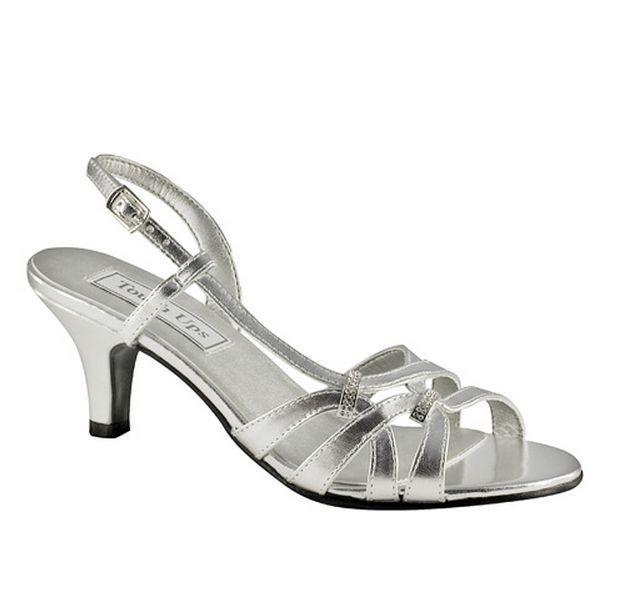 WIDE WIDTH Woven Strappy Silver Slingbacks Dressy Low Heel Sandals ...
