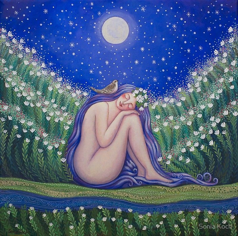 Moon Bath by Sonia Koch | Celestial art, Mother art, Moon art