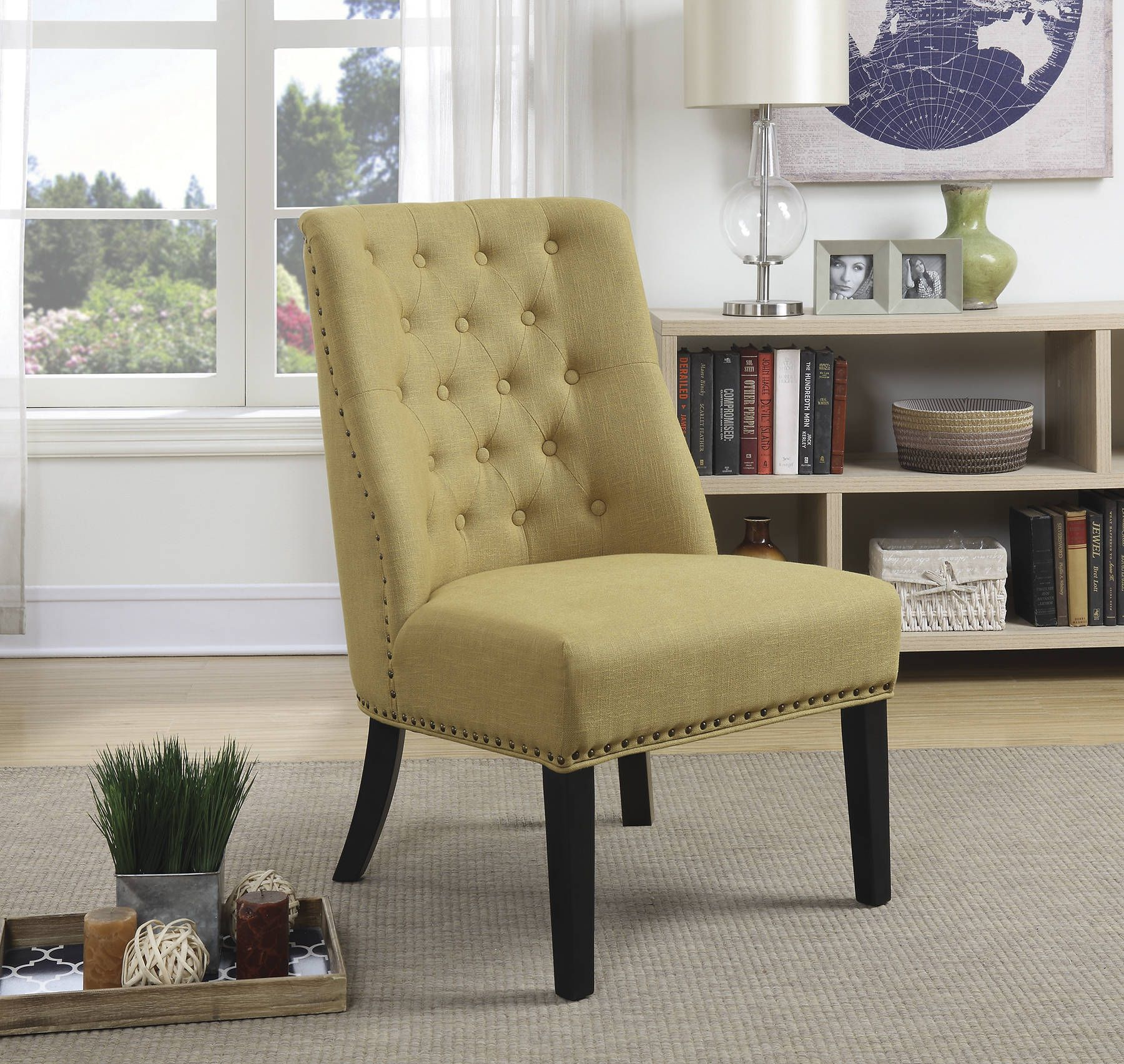 Yellow Cappuccino Fabric Button Tufted Bronze Nailhead Accent Chair