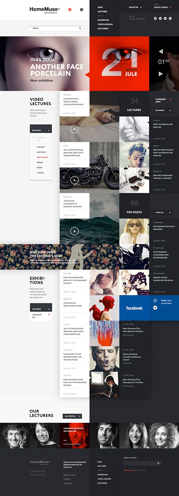 Infographics Ui Design Et Web Design: Web Design For Art Gallery & Museum HomeMuse