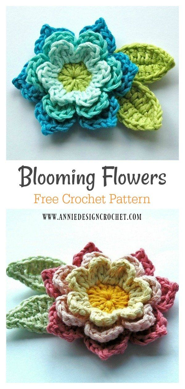 Blooming Flowers Brooch Free Crochet Pattern #freecrochetpattern #crochetpattern #broochpattern #flowerpattern