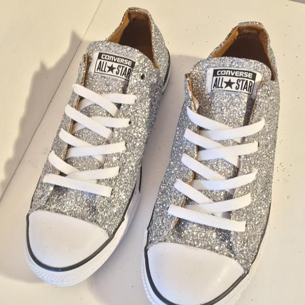 Ready To Ship Womens Sparkly Silver Glitter Converse All Stars Shoes  wedding prom bride 638e112d9