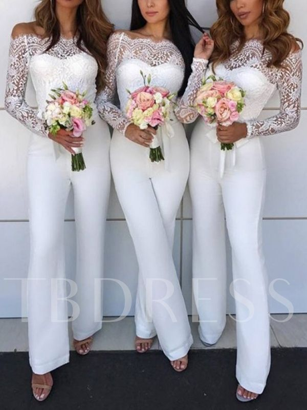 Off-The-Shoulder Lace Long Sleeve Bridesmaid Jumpsuits #bridesmaidjumpsuits Off-The-Shoulder Lace Long Sleeve Bridesmaid Jumpsuits #bridesmaidjumpsuits