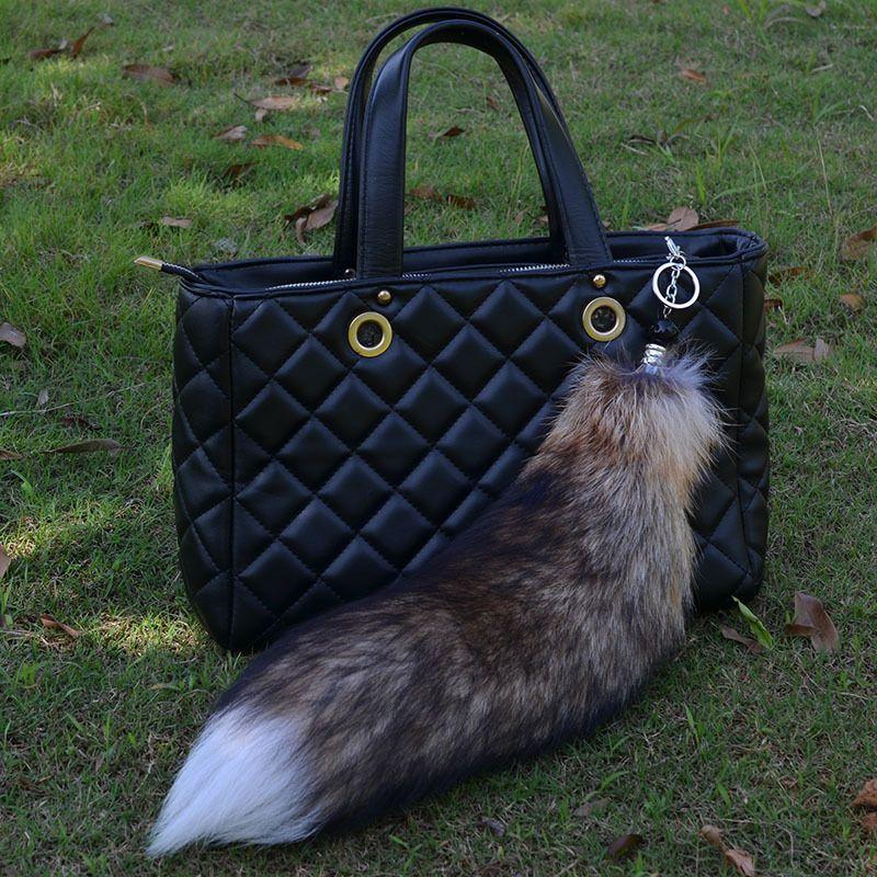 Long Large Brown Real Fox Tail Keychain Fur Tassel Bag Purse Tag Charm