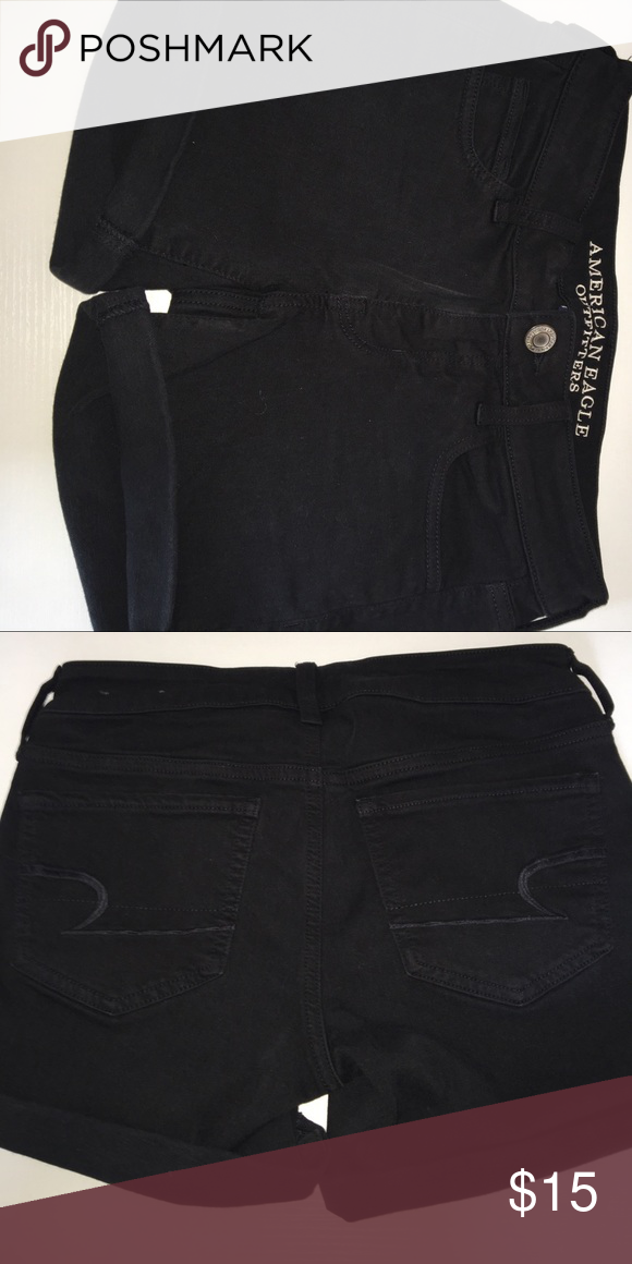 47bc37a1c7 American Eagle Black Shorts Cuffed trim. Style-Super Stretch. Black.  American Eagle Outfitters Shorts Jean Shorts