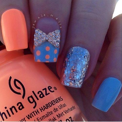 Neon Orange Bow nails