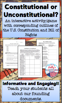 Photo of Constitution and Bill of Rights Outlines and Scavenger Hunt Activity