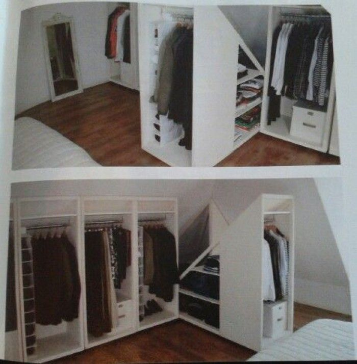 praktische l sung f r einen kleiderschrank in einem zimmer mit dachschr ge diy pinterest. Black Bedroom Furniture Sets. Home Design Ideas