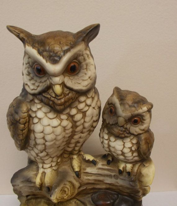 Large and Smaller Owl with Mushroom Branch MId by prissyantiques