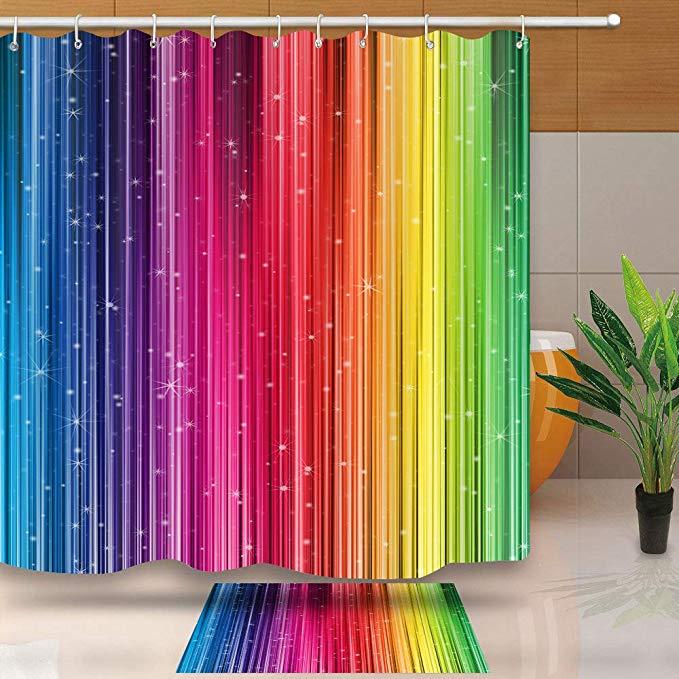 Amazon Com Art Home Decor Shower Curtain Rainbow Gradual Change