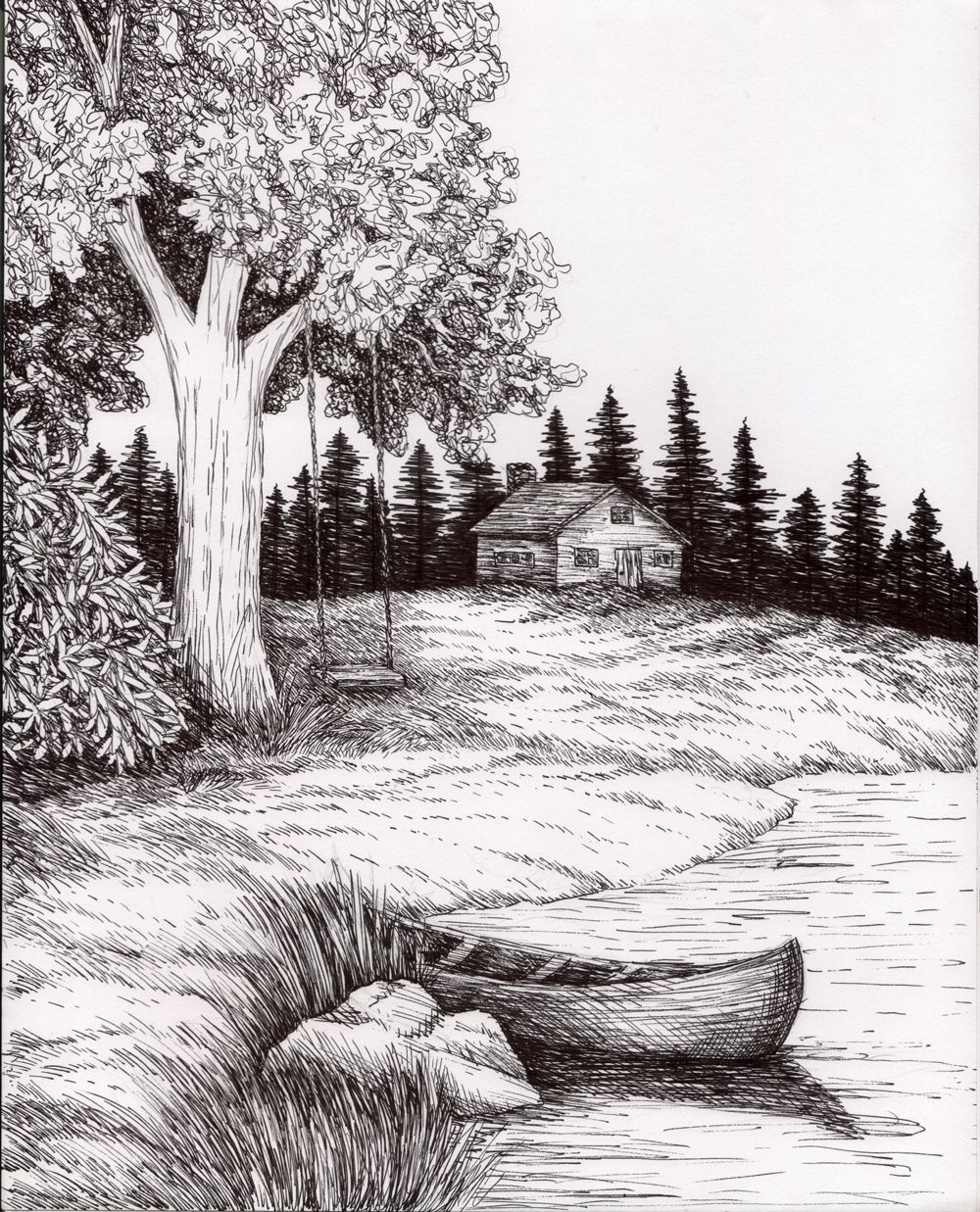 Image result for scenic pencil sketches