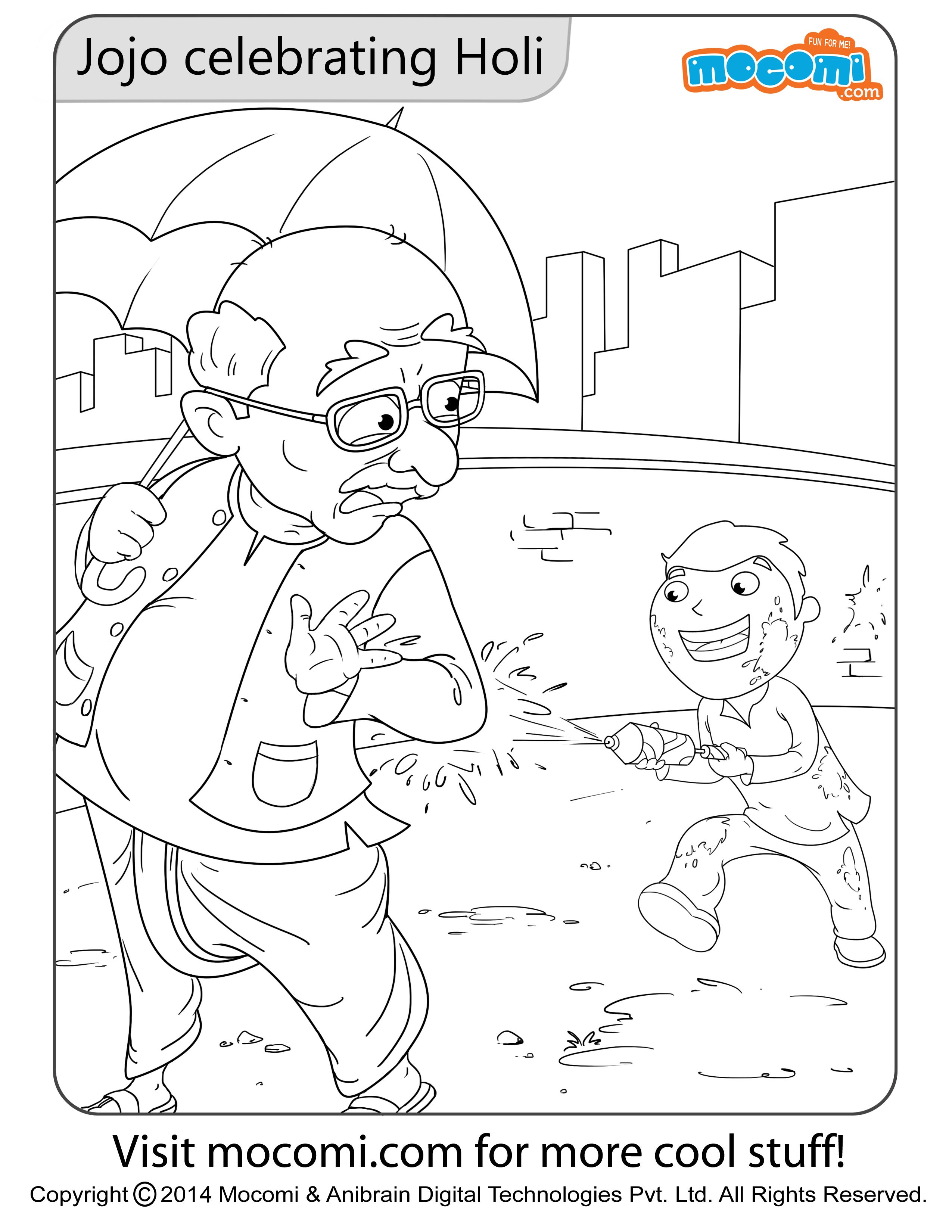 Jojo Holi Colouring Page Colouring Pages for Kids Holi