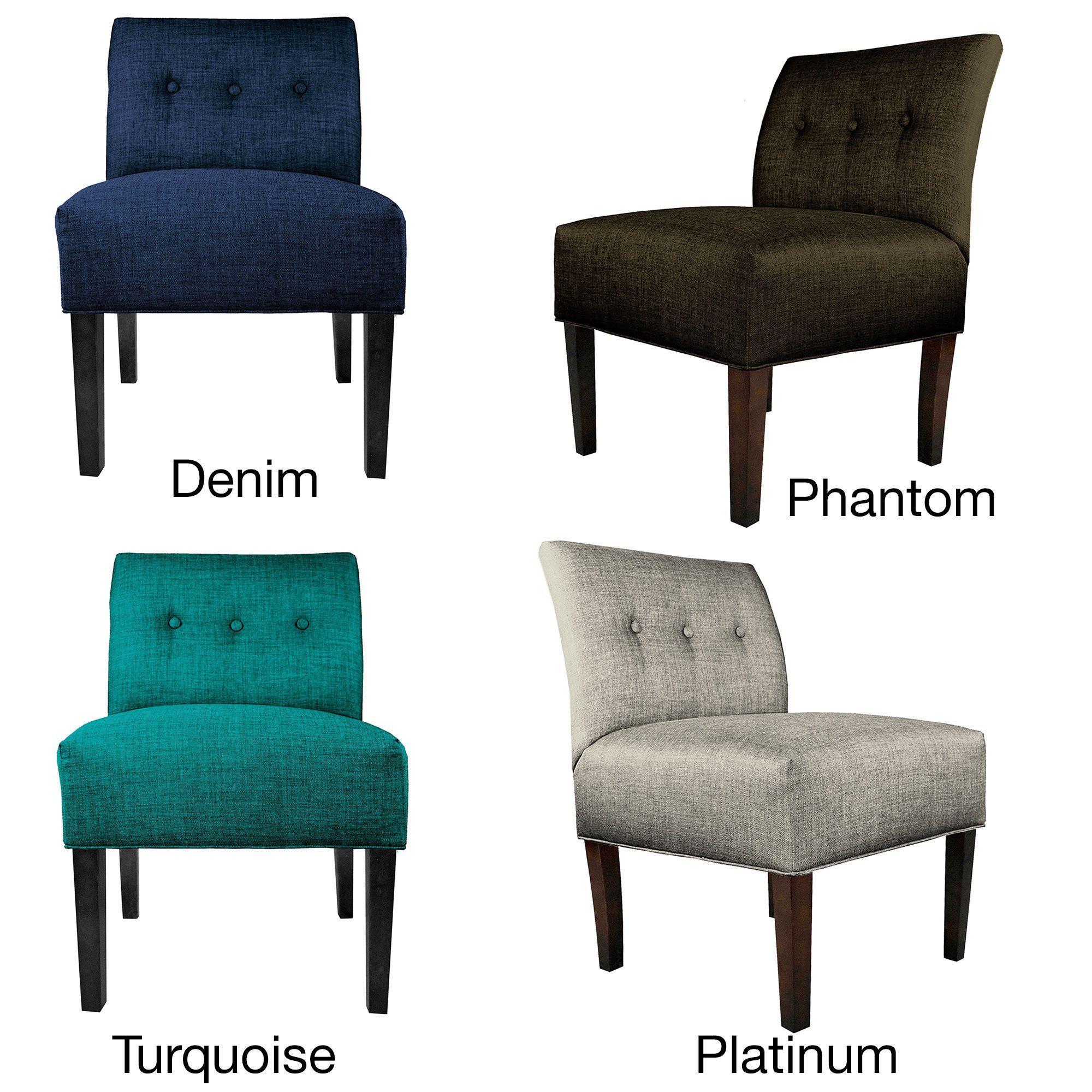 Best Mjl Furniture Samantha Blue Brown Fabric Wood Button 400 x 300