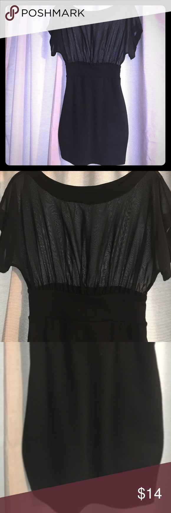 MAKE AN OFFER‼️ Solemio Fitted Sheer Top Dress M Super chic dress from Solemio. Bought at boutique. Top is Sheer black. The bottom half is fitted black. Excellent Condition. Solemio Dresses Mini