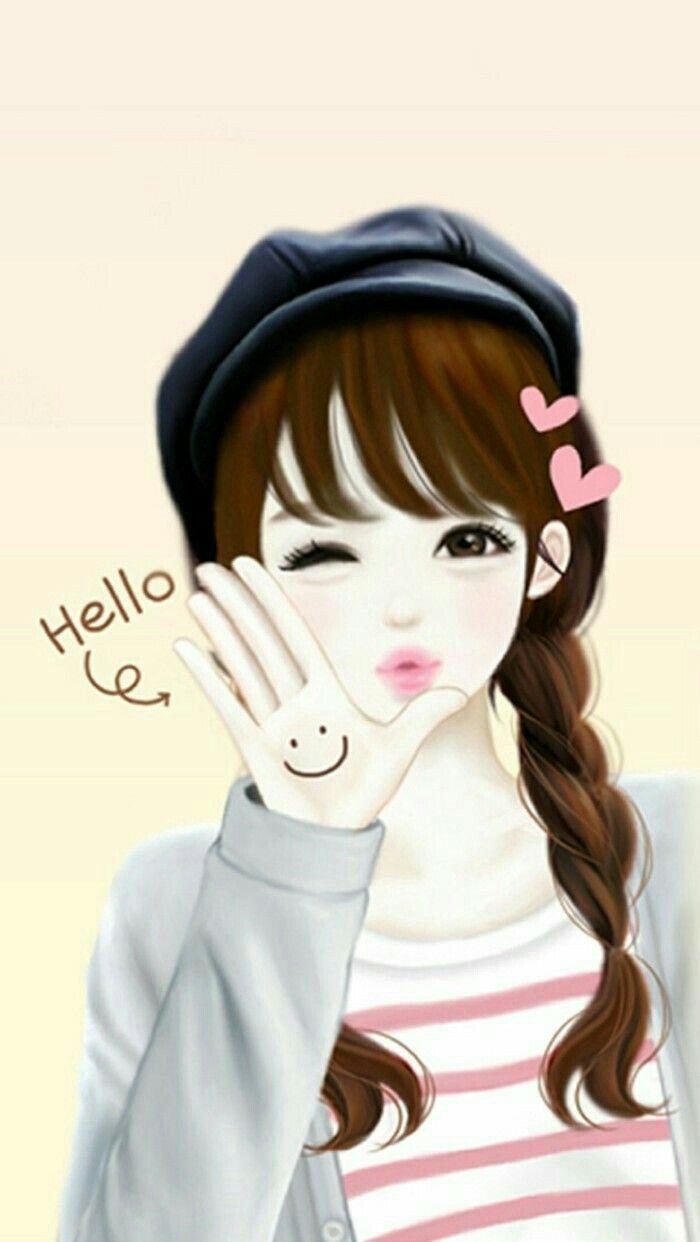Cartoon Girl Drawing Korean Anime Lovely Girl Image