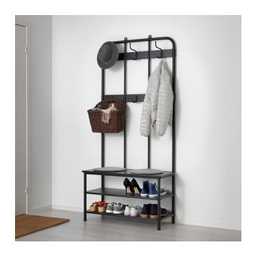 PINNIG Coat rack with shoe storage bench Black 193 cm Shoe storage