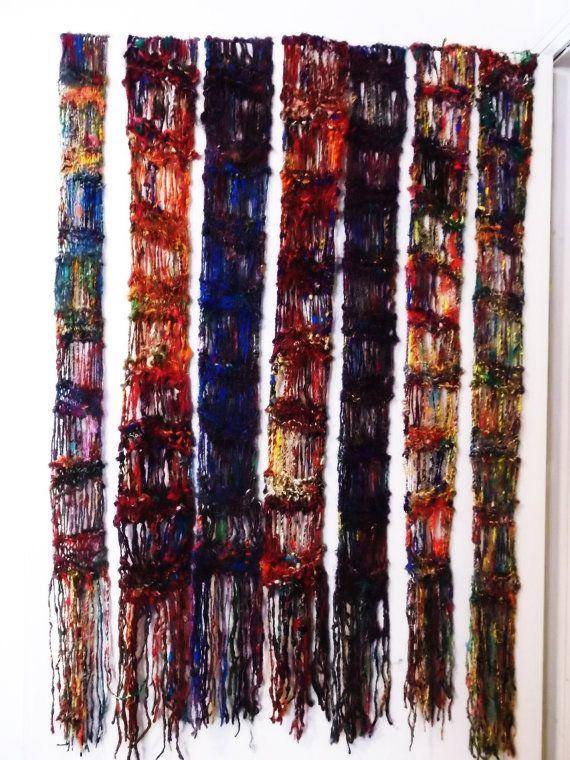 Sari Silk Yarn Drop Stitch Scarf Long Skinny Scarf With Fringe