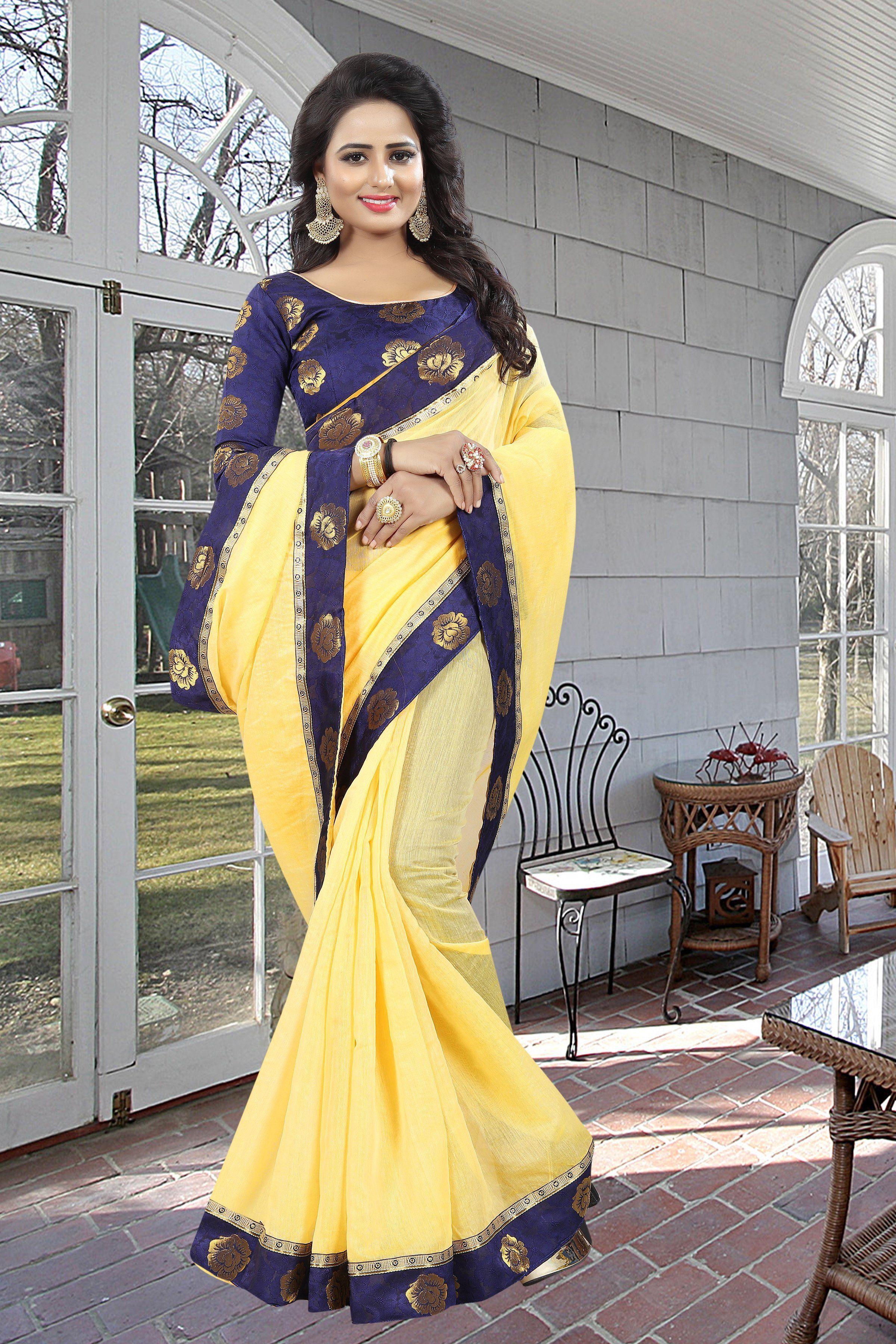 e4266b56d61433 Buy Yellow Color Chanderi Silk Saree | Zinnga whatsapp: +91 9246261661 # sarees #