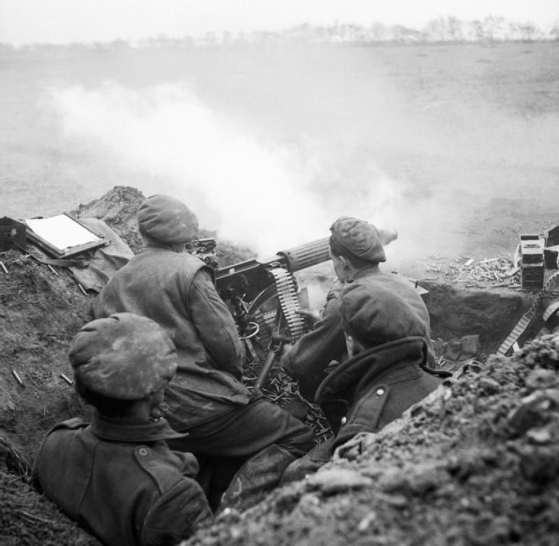 Vickers machine gun of 8th Battalion Middlesex Regiment, 51st (Highland) Division, supporting an attack by 154th Brigade, 8 February 1945.