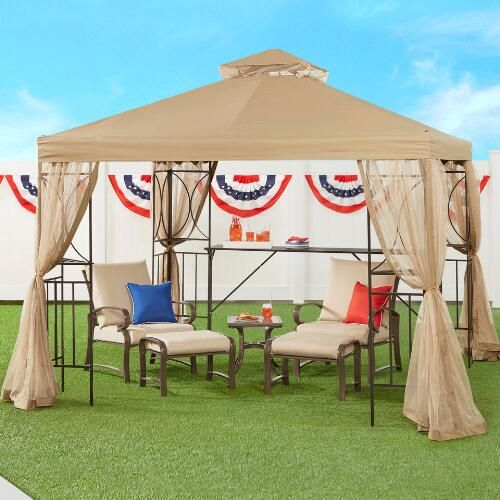 One Of My Favorite Discoveries At Christmastreeshops Com 10 X10 Outdoor Gazebo With Shelves And Netting Gazebo Outdoor Gazebos Outdoor