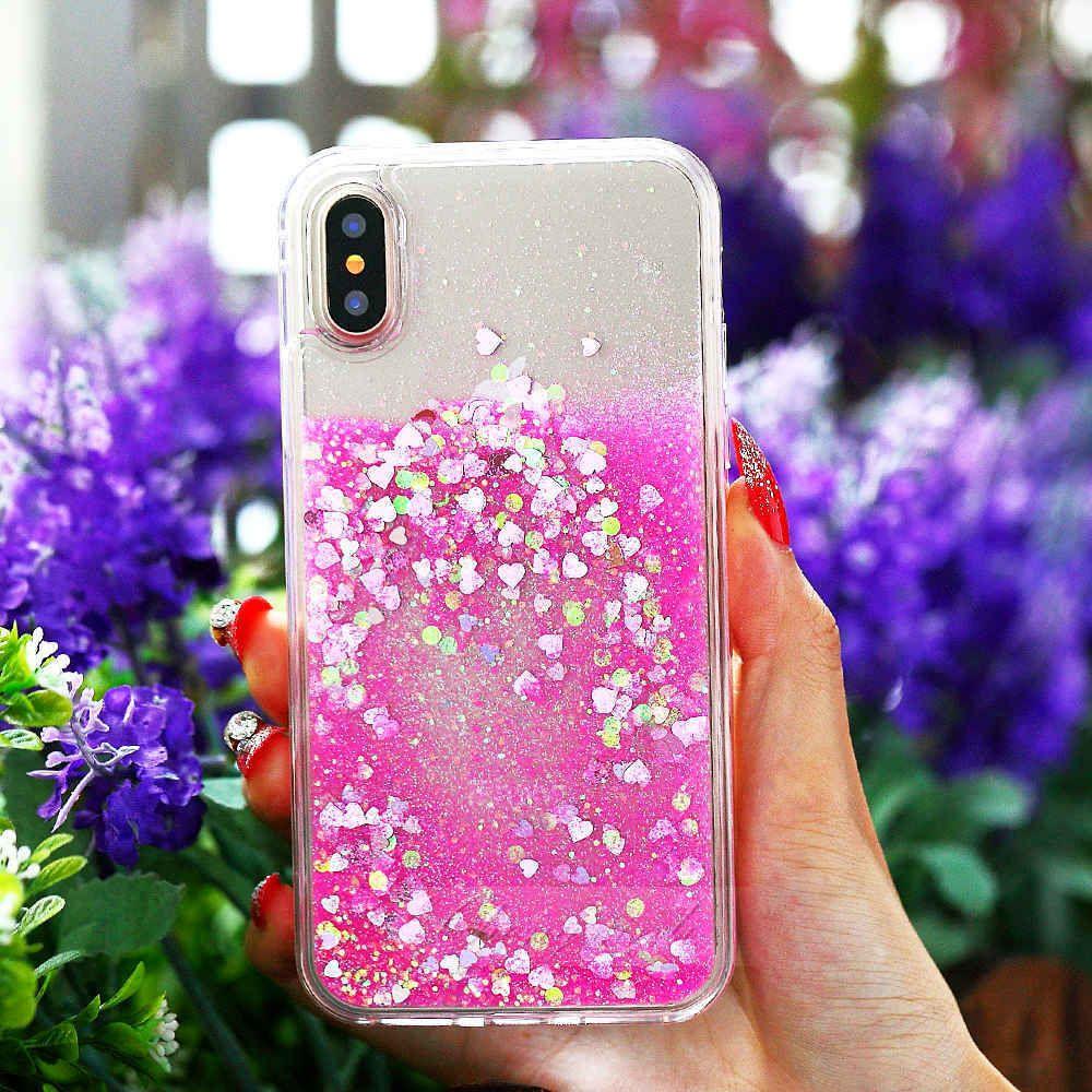 Heart liquid glitter case iphone case pink glitter