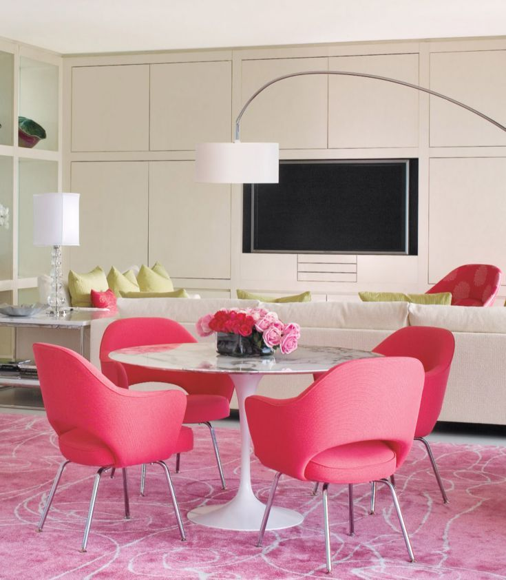 Contemporary White Dining Room with Pink Accents | Design Element ...