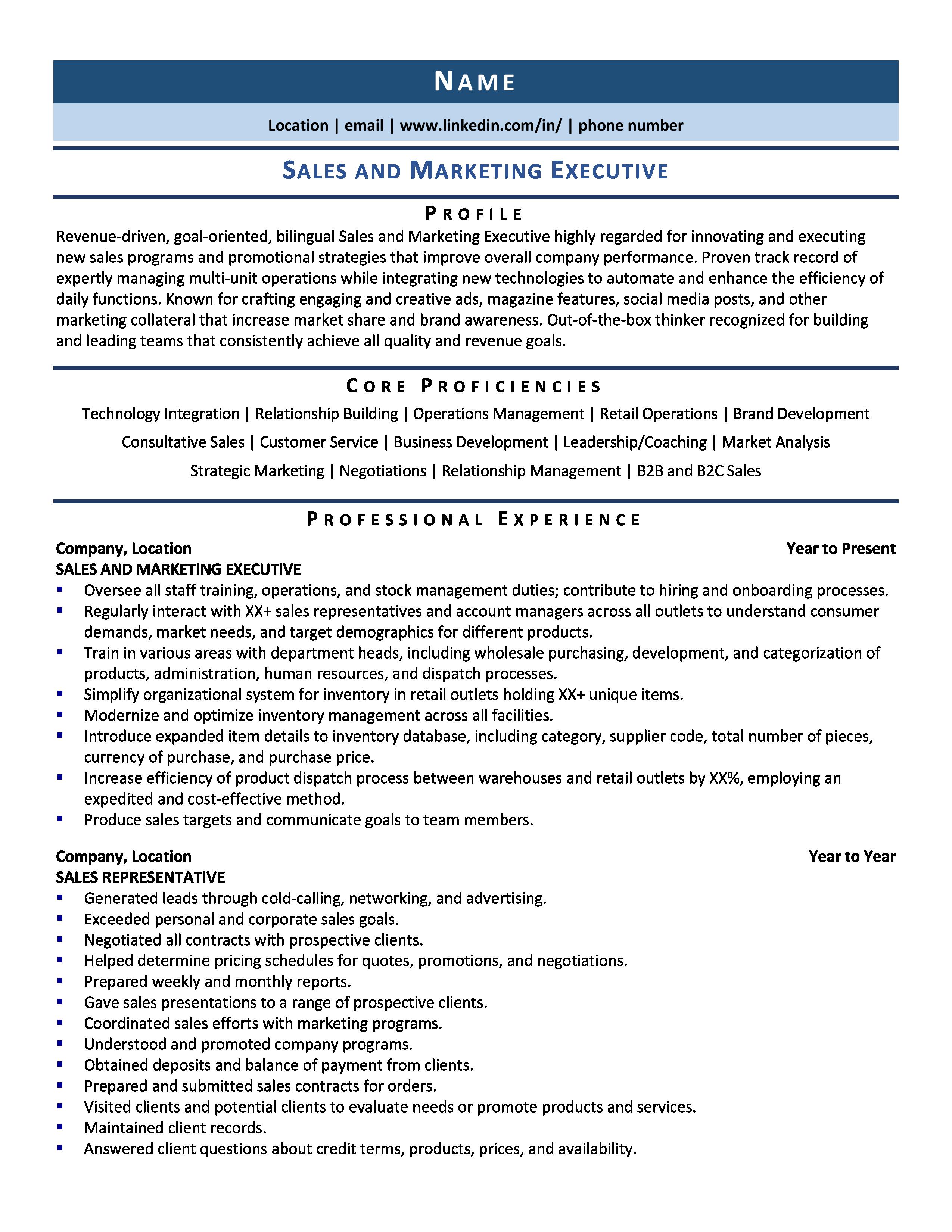 Sales Marketing Executive Resume Sample Guide 2020 Resume Examples For 2020 Sales Marketing Executive Resume Example Guide 2020 Sales Marketin