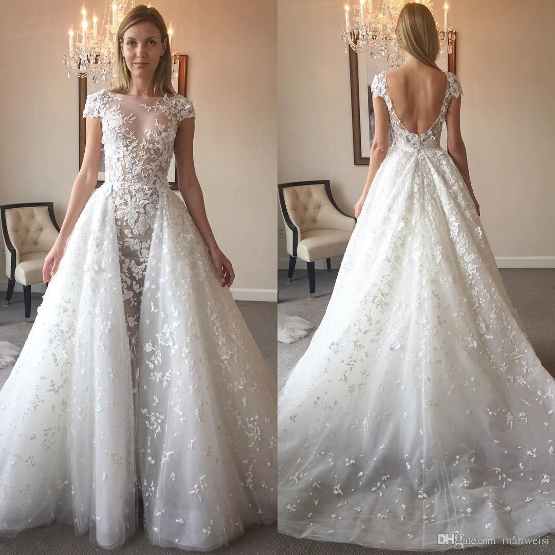 2017 Zuhair Murad Backless Mermaid Wedding Dresses With Detachable