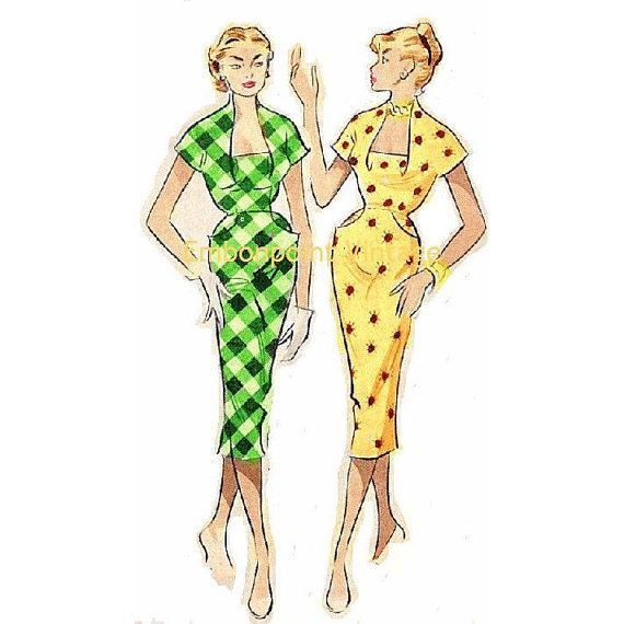 Plus Size (or any size) Vintage 1949 Wiggle Dress Sewing Pattern ...