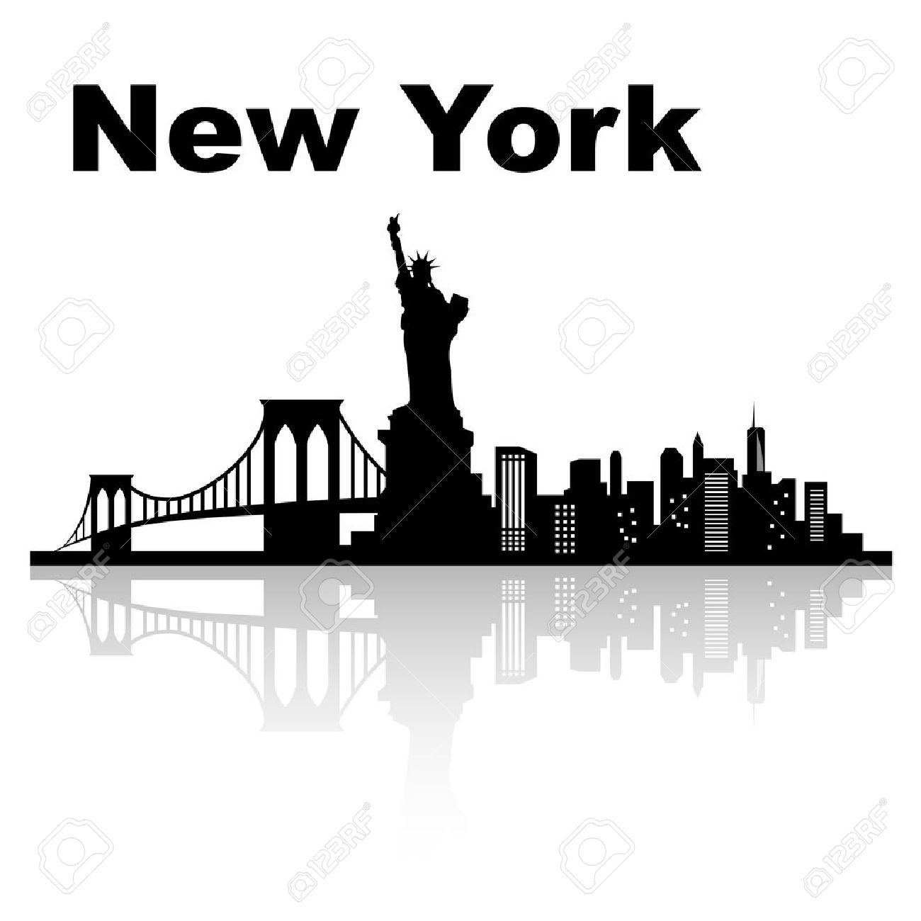 stock vector | new york skyline silhouette, new york