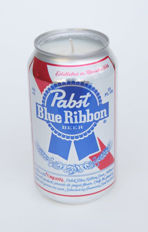 100 soy candle pabst blue ribbon beer can candle by relightcandles, $15.00